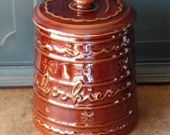 Marcrest Stoneware Cookie Jar, Oven-Proof, Daisy Dot, Style #1, Colorado Brown, Pottery, Collectible, Kitchen, Primitive