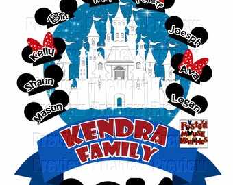 Printable DIY Castle Family Iron On Transfer - DIY Disney Shirts - Personalized Matching Family Disney Shirts - DIY Cruise Door Magnet