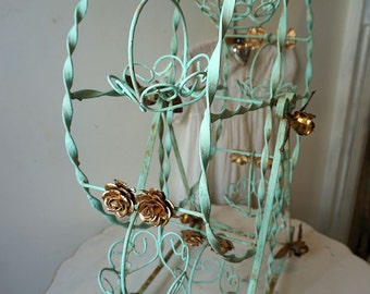 Mint green Ferris wheel lg shabby cottage chic painted distressed metal gold gilded rose embellished vintage home decor anita spero design