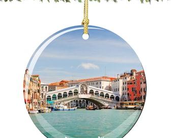 Venice Christmas Ornament, Italian Ornament Decoration in Porcelain