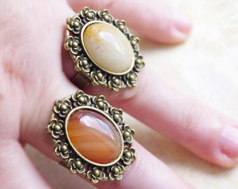Orange Yellow Lace Agate Jade Gemstone Ring Adjustable Decorative Flower Bronze Classy Elegant Ring