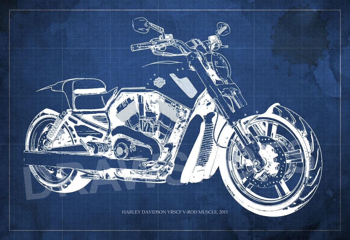 Harley davidson vrscf v rod muscle blueprint art print for Blueprint size prints