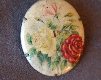 Vintage Floral Cameo Pin