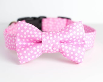 Spring Easter Dog Collar with Bowtie - Pastel Pink Dots