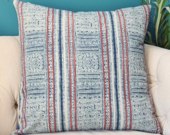 Indigo Blue Pink & Ivory (not white) Pillow Cover - Pink Blue Block Print - Hmong - Boho Pillow Cover - Blue Decor - Motif Pillows