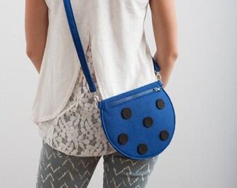 Polka Dot Bag Dark Blue Felt Bag Kawaii Hipster Purse Deep Blue Purse Cute Bag Gift For Her Christmas Gift Ideas Small Purse Fun Cute Purse