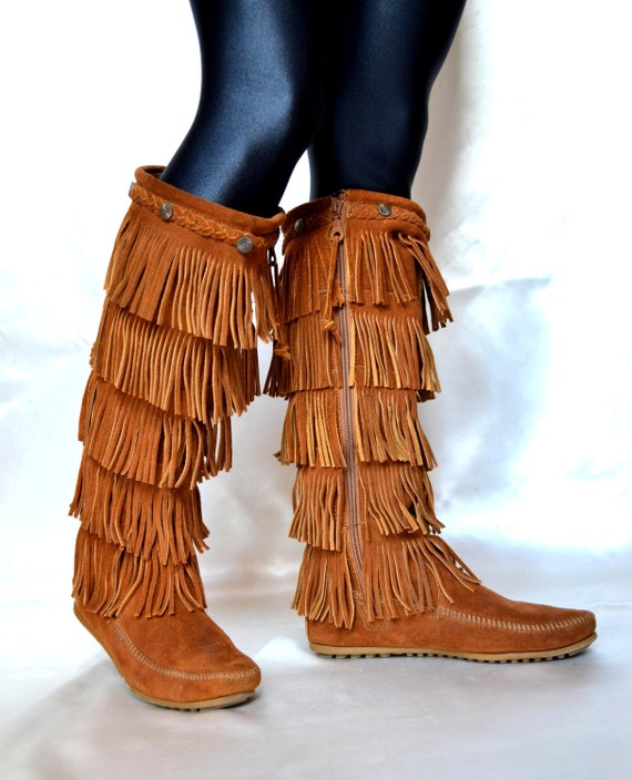 Minnetonka Boots Fringe Boots SUEDE BOOTS Suede Boots Fringe