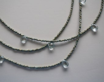 Delicate AAA quality pale aquamarine and glass bead necklace