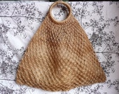 Vintage  60s 70s Boho Macrame Tote Floral Open Weave Natural Jute Bag Purse XL