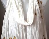 white cottton shawl-scarf,embriodered scarf,crochet shawl,crazy shawl,cheery shawl,for her, woman shawl,kilim shawl,usable everytime