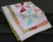 "Modern ""Miss Kate"" and ""Scrumptious"" Pinwheel Quilt or Wall Hanging with Border for Baby Girl"