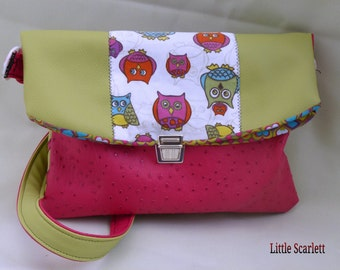 handbag satchel in green and pink leather and fabrics owls