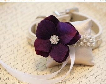 Eggplant Ring Pillow,Ivory Pillow with pearl and Rhinestone attach to High quality Leather Collar,Ring Pillow,Ring Bearer Pillow