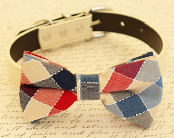 Plaid Dog Bow tie, Bow attached to dog collar, Dog birthday gift, Pet wedding accessory, Ivory, Red, Navy Bow tie, Plaid bow tie, dog lovers