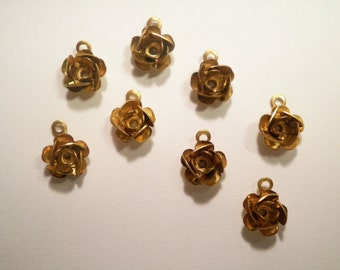 8 Vintage Brass 10mm Rose Charms Pendants Drops