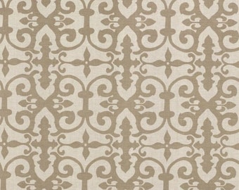 SCHUMACHER ENGLISH COUNTRY Chic Scrollworks Hand Blocked Linen Fabric 10 Yards Brown