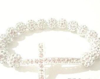 Silver Cross Bracelet. Sideways Cross. Cross Bracelet. Beaded Cross. Faith Bracelet. Silver Cross. Spiritual Jewelry.