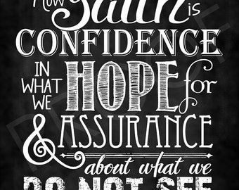 Scripture Art - Hebrews 11:1 ~ Chalkboard Style