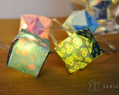 Origami lights with turquoise, yellow and pink papers - one-of-a-kind - 20 LEDs