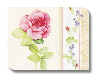 Rose paper napkin for decoupage, mixed media, collage, scrapbooking x 1.  La Rose . No 1081