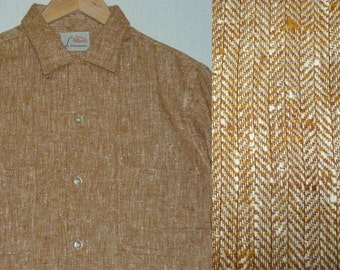 NOS / 1950s Shirt / M / Fleck / Atomic / Tweed / Rockabilly / Vintage 1950s Mens Clothing / New Old Stock / Deadstock / Elvis / RnR / Stage