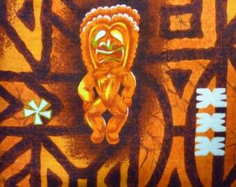 1970s Shirt / XS - S / 1970s Hawaiian Shirt / Barkcloth / Tiki Shirt / Mod Shirt / Luau / Tapa Shirt / Psychedelic / Vintage Hawaiian Shirt