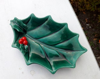 Decorative Lefton china holly bon bon dish with red berries - 1950's