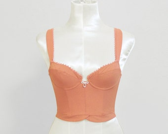 Vintage Bustier bra crop top / peach salmon pink corset lingerie / boned sexy Frech strech cropped top / size Small / wedding bridal bustier