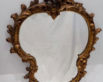 Large Rococo Style Heavily Carved Gesso Gilt Wood Wall Hanging Mirror - Art Nouveau Antique Baroque - Vintage French Louis XV Style Ornate