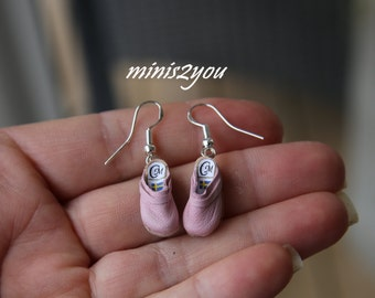 Handmade cute clogs as ear rings in incredibly thin leather