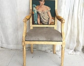 24K Gold gilded French Louis Bergere Armchair dining/ accent chair upholstered in mixed elements such as leather, suede and vintage tapestry