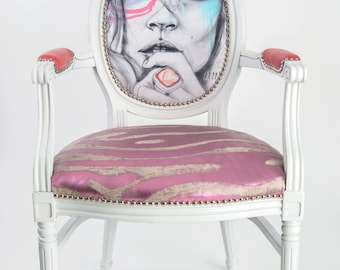 French Louis XVI Eclectic Dining armchair upholstered pink fuchsia white silver and aqua painted white glossy, available as a pair or accent
