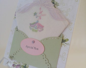 Vintage Embroidered Handkerchief Mother Of The Bride Mom Birthday Lavender Lace Keepsake Gift Happy Tears Hankie Cards
