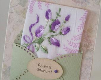 Vintage Embroidered Handkerchief Purple Lavender Rose Buds You're A Sweetie Thank You Keepsake Gift Friend Ladies Hanky Greeting