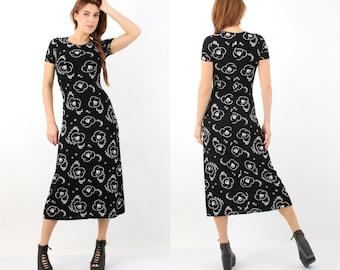 Vintage 90s ES SE Black Floral Dress M