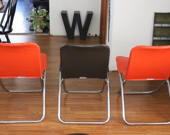 1970's Mod Folding Chairs Set of Three Samsonite Mid Century Mod Vinyl Folding Chair RARE Find