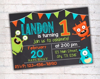 Monster Birthday Invitation, Printable Invitation, Monster Party, First Birthday Invitation, Chalkboard Invitation, Monsters Invitation, 013