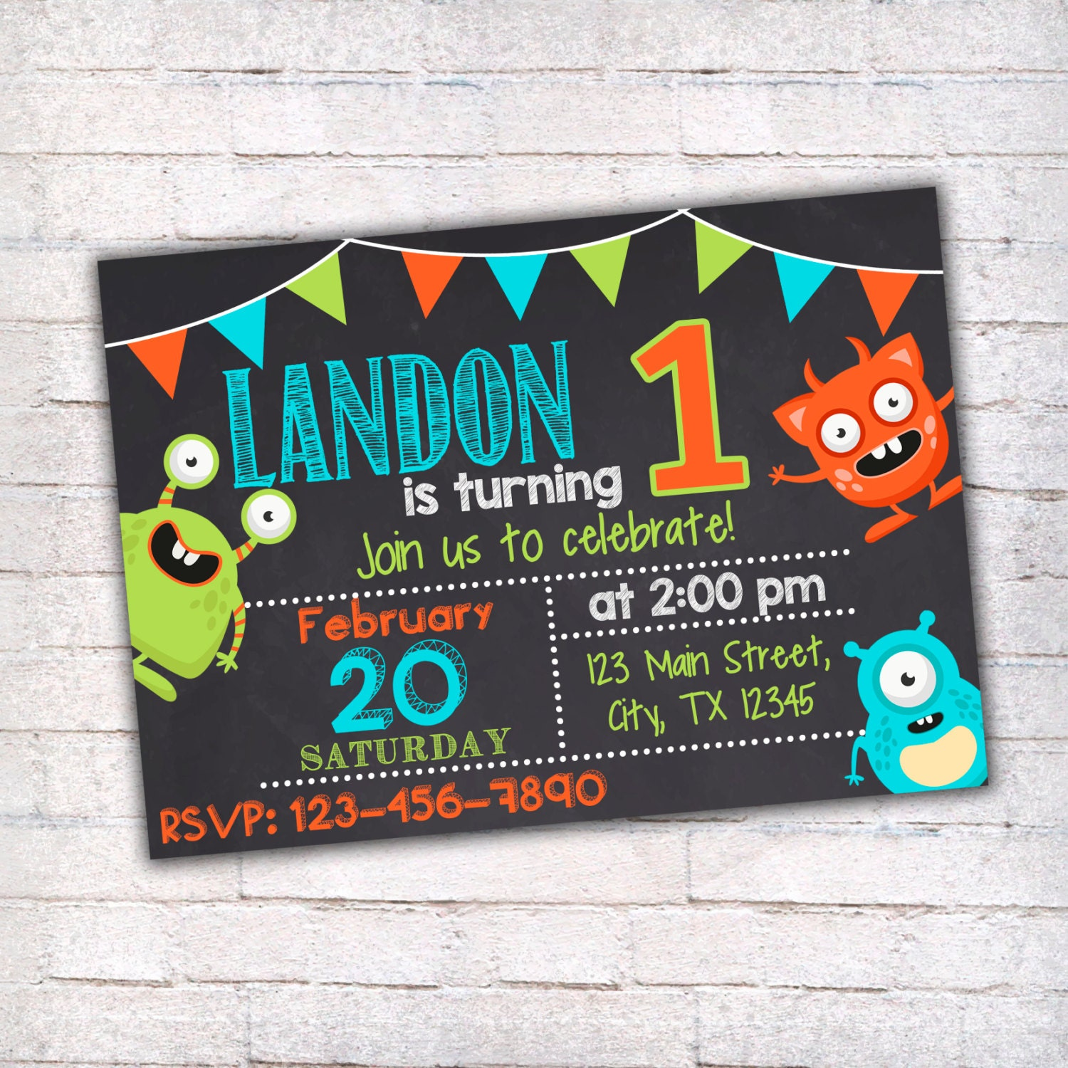 Monster birthday invitation printable invitation monster party monster birthday invitation printable invitation monster party first birthday invitation chalkboard invitation filmwisefo