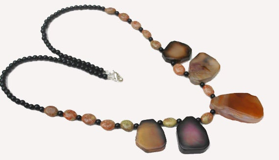 Handmade Agate Jasper and Obsidian necklace - Gemstone necklace -