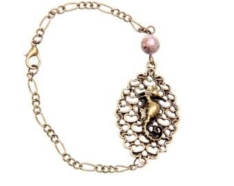 Hippocampus beach vintage bracelet jewelry Natural stone