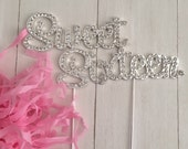Silver Crystal Rhinestone Quinceanera Number 15 or Sweet 16th Birthday Cake Topper