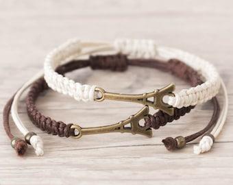 Matching couple bracelets Eiffel tower bracelet Macrame bracelet Couples bracelet Best friend bracelet Paris Friendship bracelet - set of 2