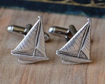 Nautical Cufflinks, Sailboat Cufflinks, Silver Sailing Cufflinks, Boating Cufflinks, Beach Wedding Accessories, Cufflinks with Boats