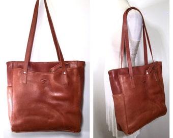 Large Brown Leather Bag Vintage 1980s Large Women's Shoulder Bag Brown Leather Men's Satchel Handbag Computer Bag Soft Leather Carryall