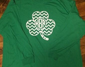 Chevron Monogram Shamrock tshirt. St. Patrick's Day tshirt