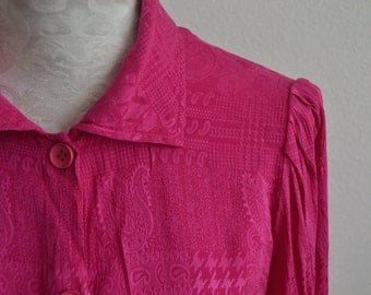 Vintage 100% silk fuchsia PAISLEY houndstooth blouse shirt