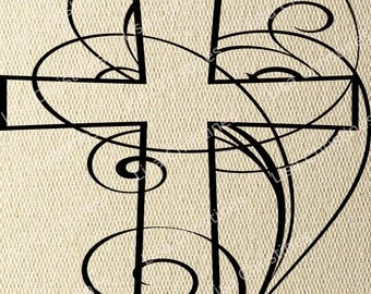 Cross, Easter Illustration, Instant Download, Clipart, Digital Transfer Image for Papercrafts, Pillows, Fabric, Iron on Transfer 229