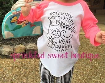 Soft Kitty Warm Kitty Big BangTheory Sheldon's Song Raglan Baseball Shirt Custom Women Girls