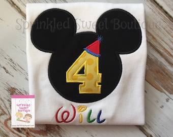 Mickey Mouse Ears 4 Fourth Birthday Hat  Number Applique Custom Monogram Shirt Boys Girls Perfect for a Disney World Trip Party