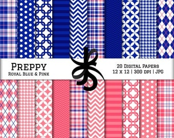 Digital Scrapbook Papers-Royal Blue and Pink-Preppy-Navy Blue-Chevron-Argyle-Plaid-Stripes-Blue and Pink-Instant Download Clip Art